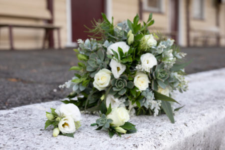 Simple white with greenery bouquet