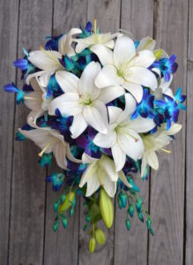 Lily and Blue Singapore Orchid Bouquet