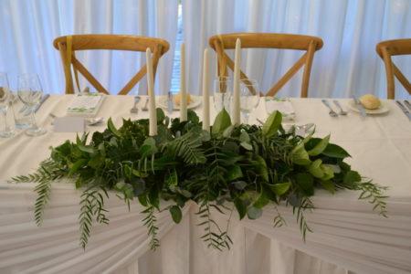 Bridal table greenery candelabras