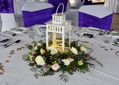 Lantern with flower wreath