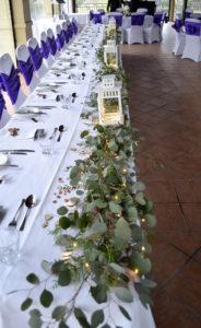 Bridal table foliage flat lay