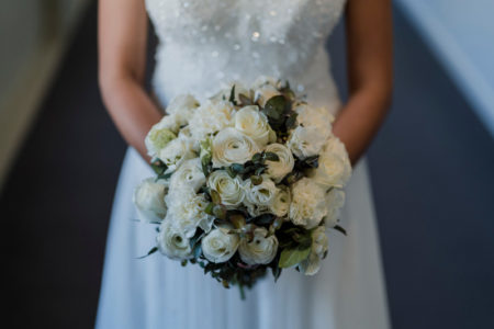 White bouquet with silver gum