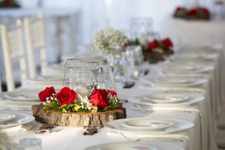Red rose and foliage centrepieces