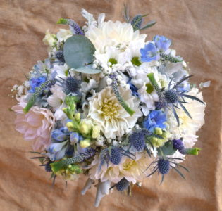 Pastel Blue and white bouquet
