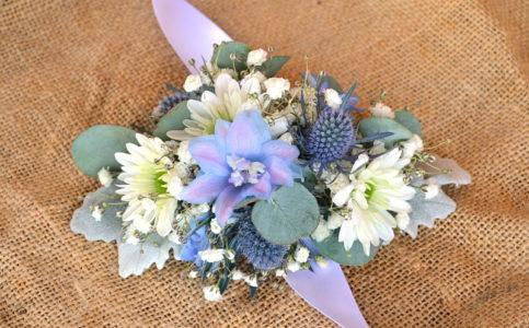 Pastel blue and white diamond wrist corsage